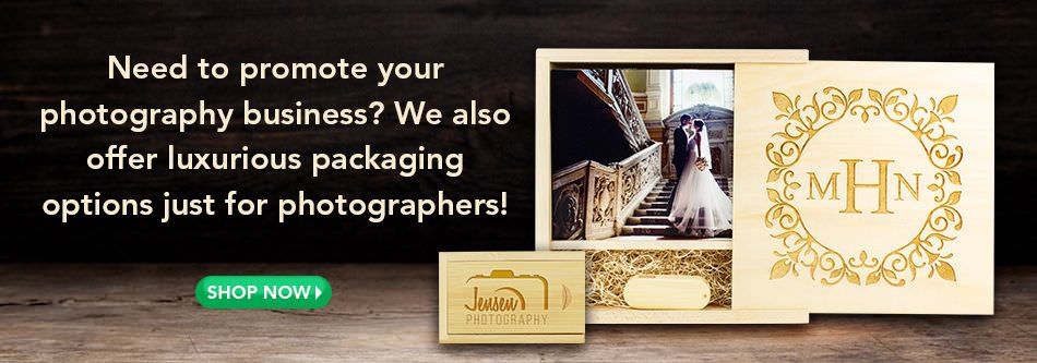 We offer luxurious packaging options just for photographers