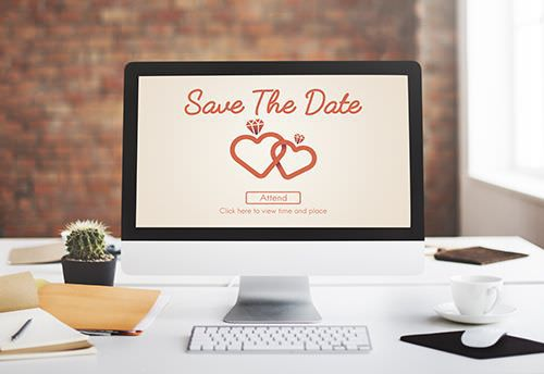 Save the date care on the computer.