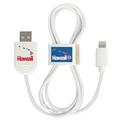 White Hawaii Islands Lightning USB Cable with QuikClip