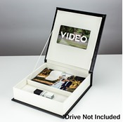 "Black Leather Bespoke Custom Video and Photo Box for 4""x6"" Photos"